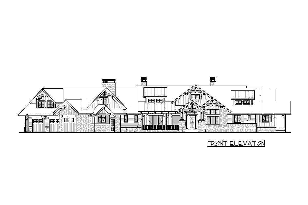 Front elevation sketch of the 3-bedroom single-story mountain ranch home.