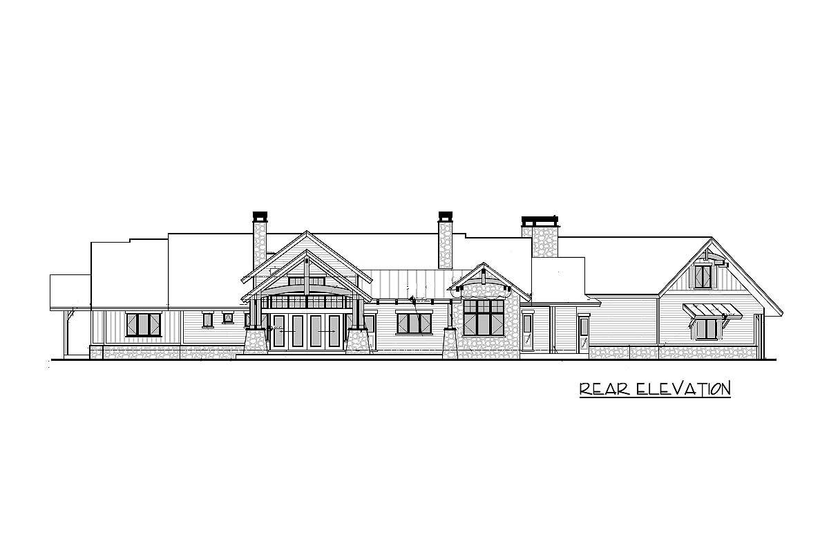 Rear elevation sketch of the 3-bedroom single-story mountain ranch home.