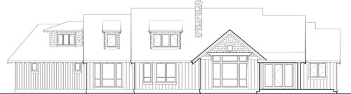 Rear elevation sketch of the 3-bedroom two-story Ira home.
