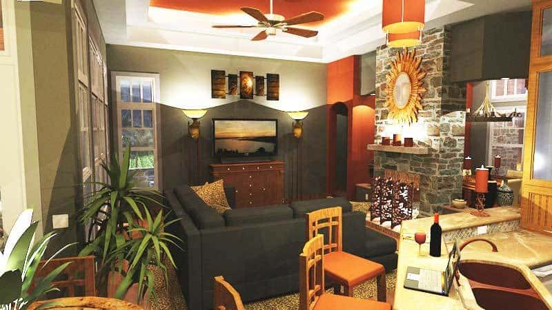 Living room with hardwood flooring and a glowing tray ceiling mounted with a fan.