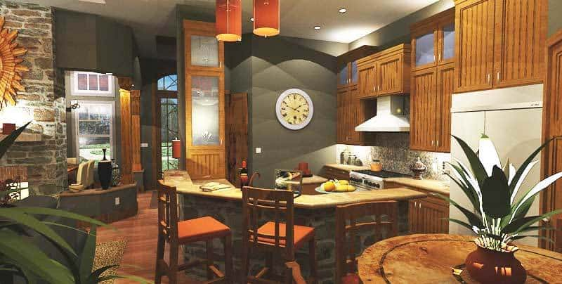 A two-tier peninsula accentuated with gorgeous stone wraps around the kitchen.