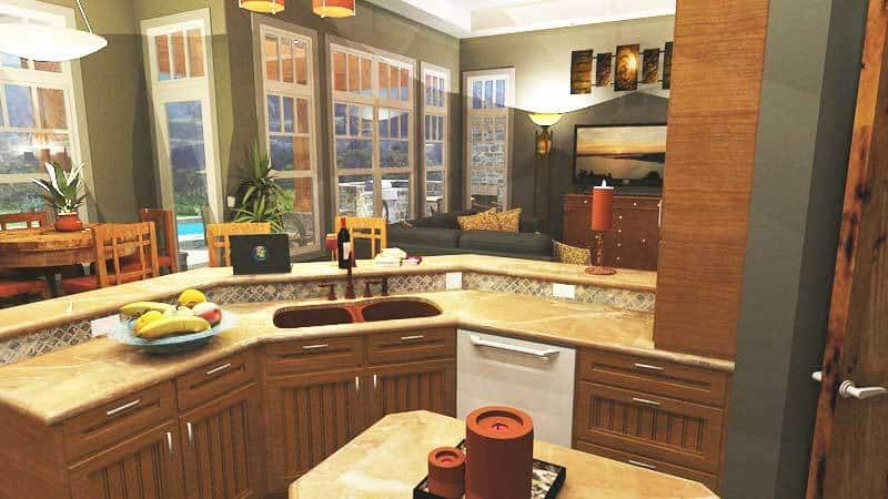 Small kitchen island and a two-tier peninsula fitted with a double bowl sink.