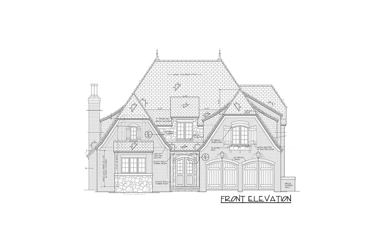 Front elevation sketch of the two-story Tudor home.