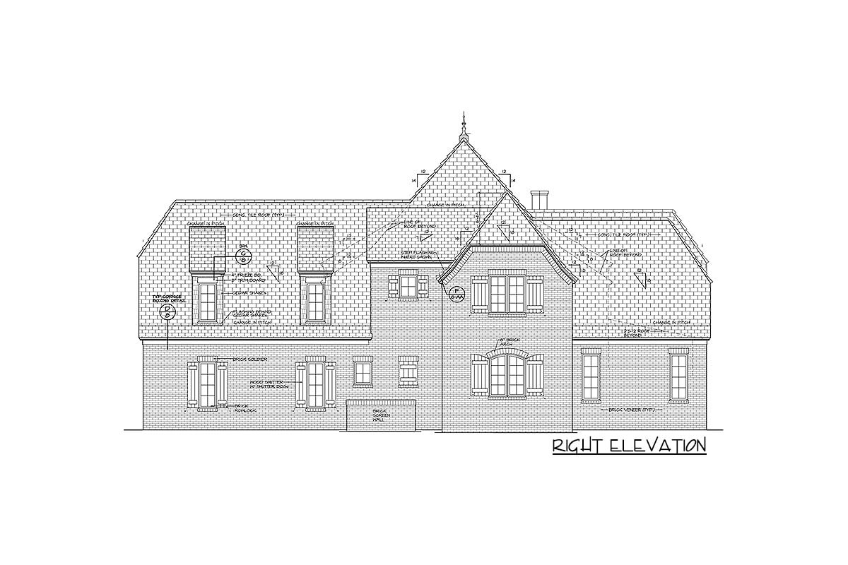 Right elevation sketch of the two-story Tudor home.