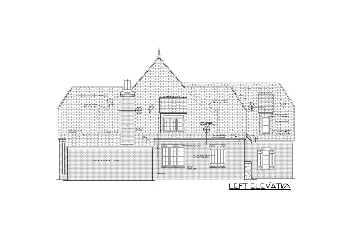 Left elevation sketch of the two-story Tudor home.