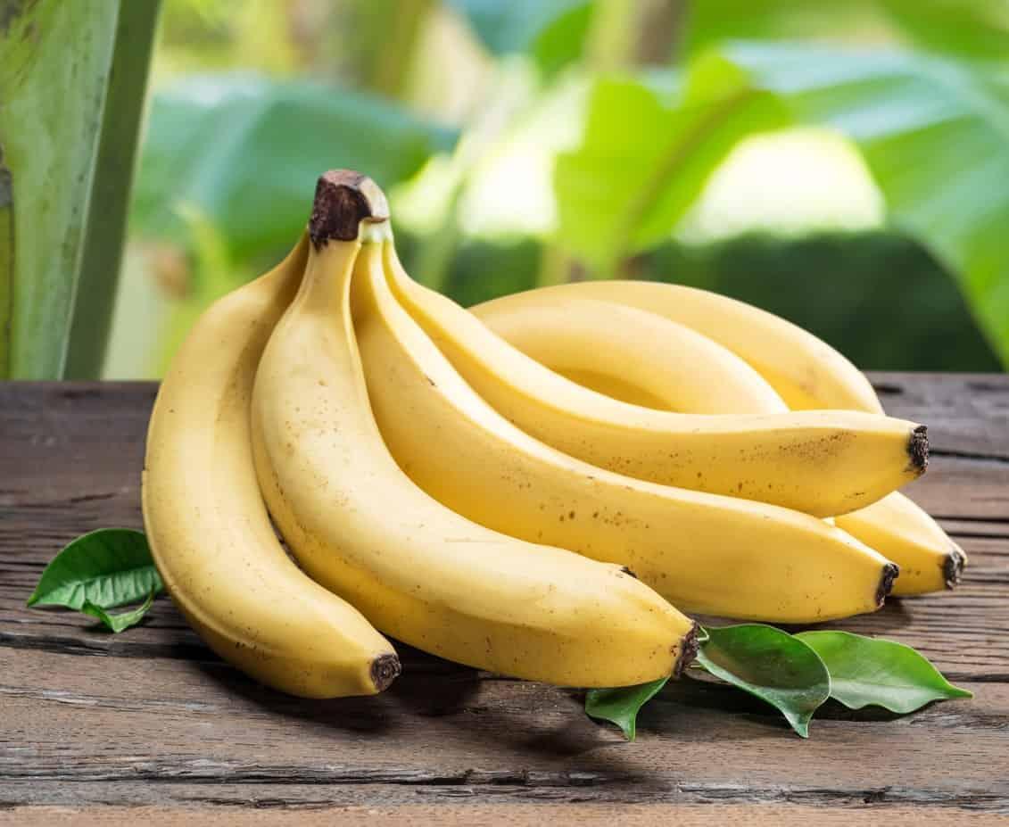 Pieces of ripe cavendish bananas.