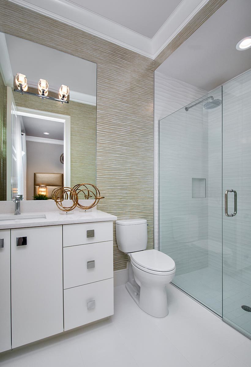 Bathroom with a walk-in shower, a toilet, and a white vanity under the frameless mirror.
