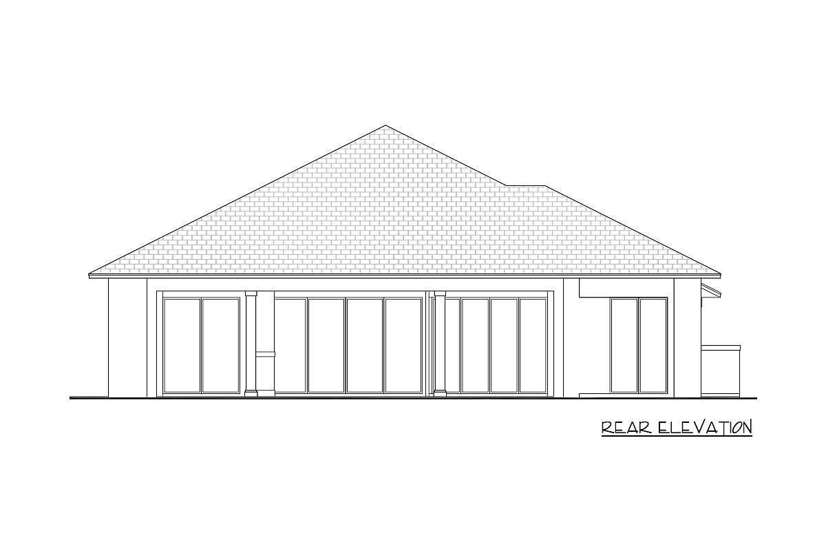 Rear elevation sketch of the 4-bedroom single-story Southern contemporary home.