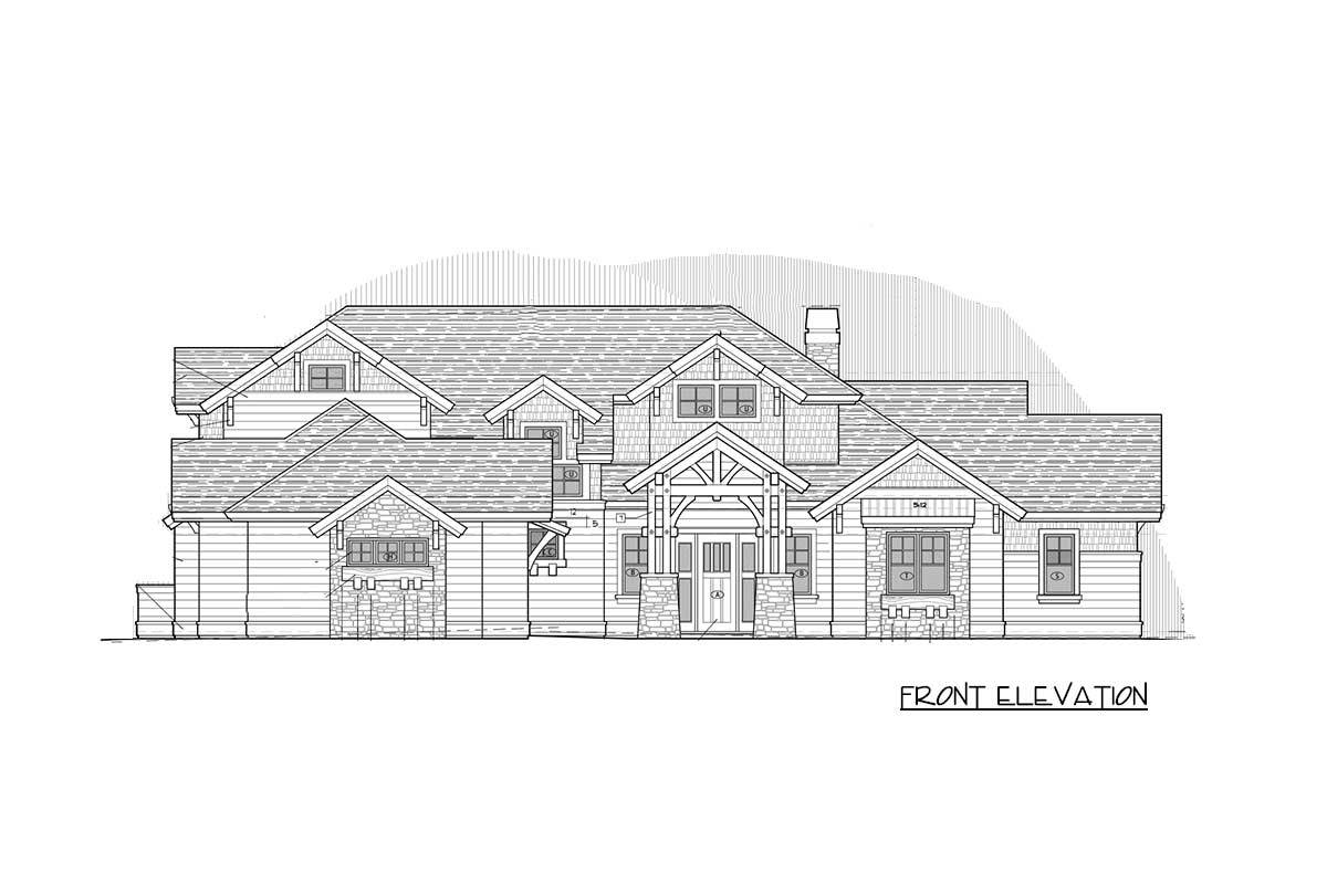 Front elevation sketch of the two-story craftsman home.