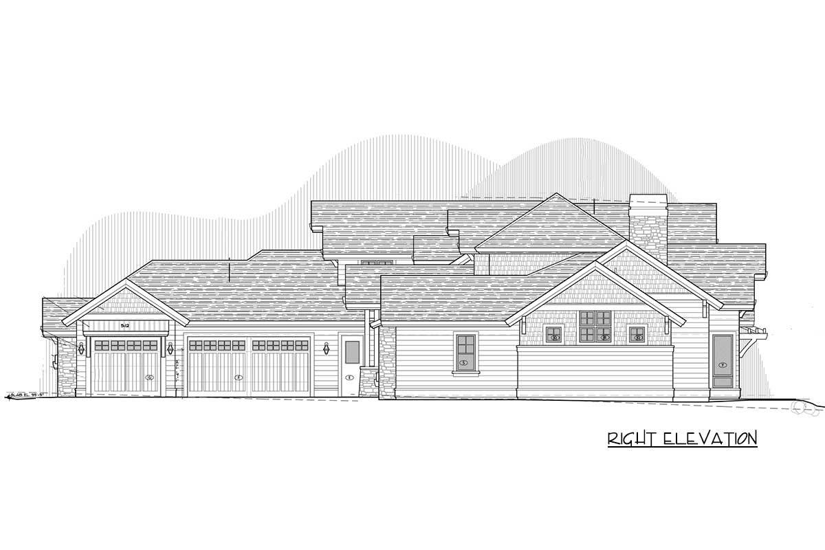Right elevation sketch of the two-story craftsman home.