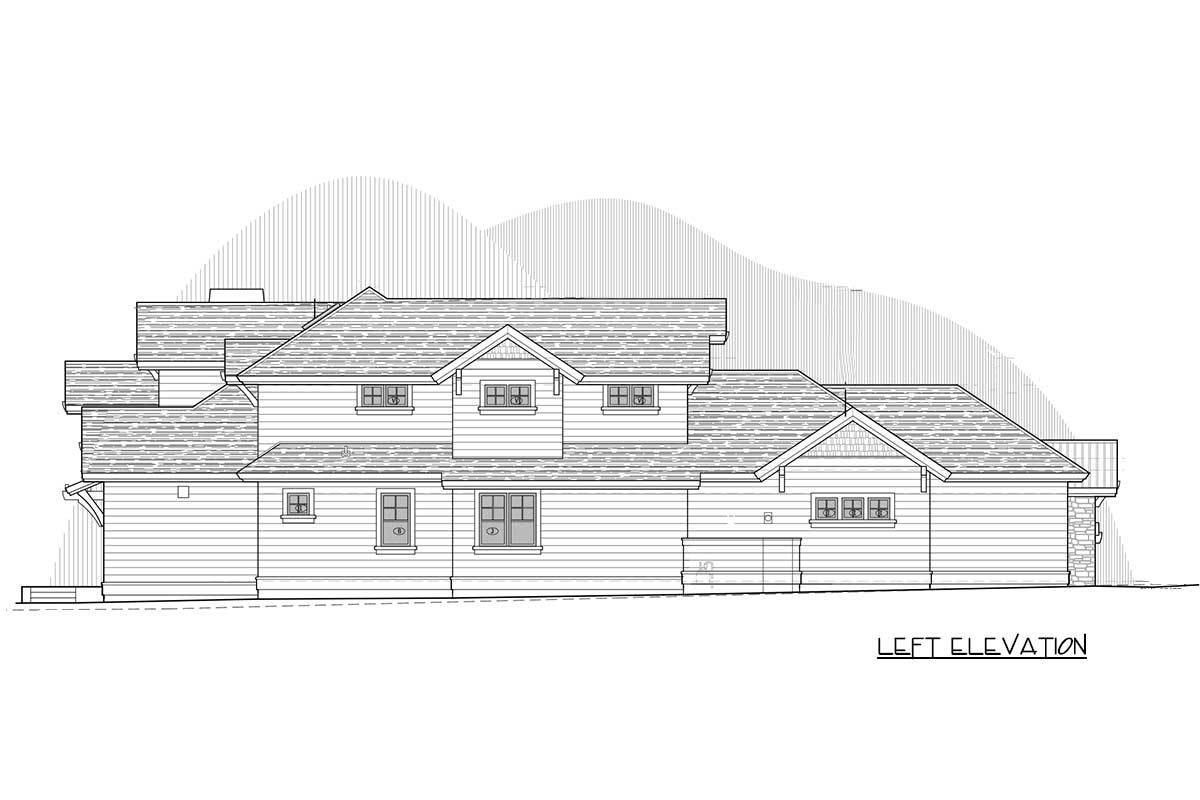 Left elevation sketch of the two-story craftsman home.