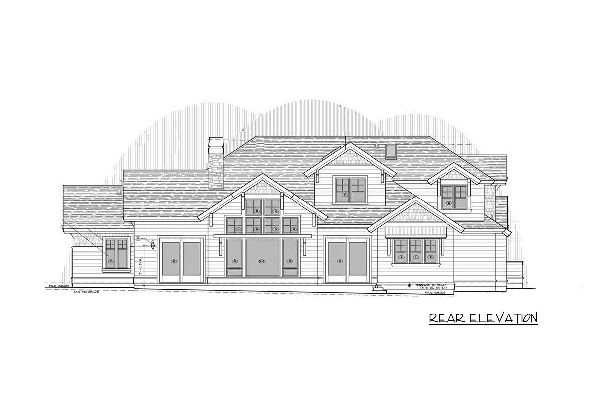 Rear elevation sketch of the two-story craftsman home.