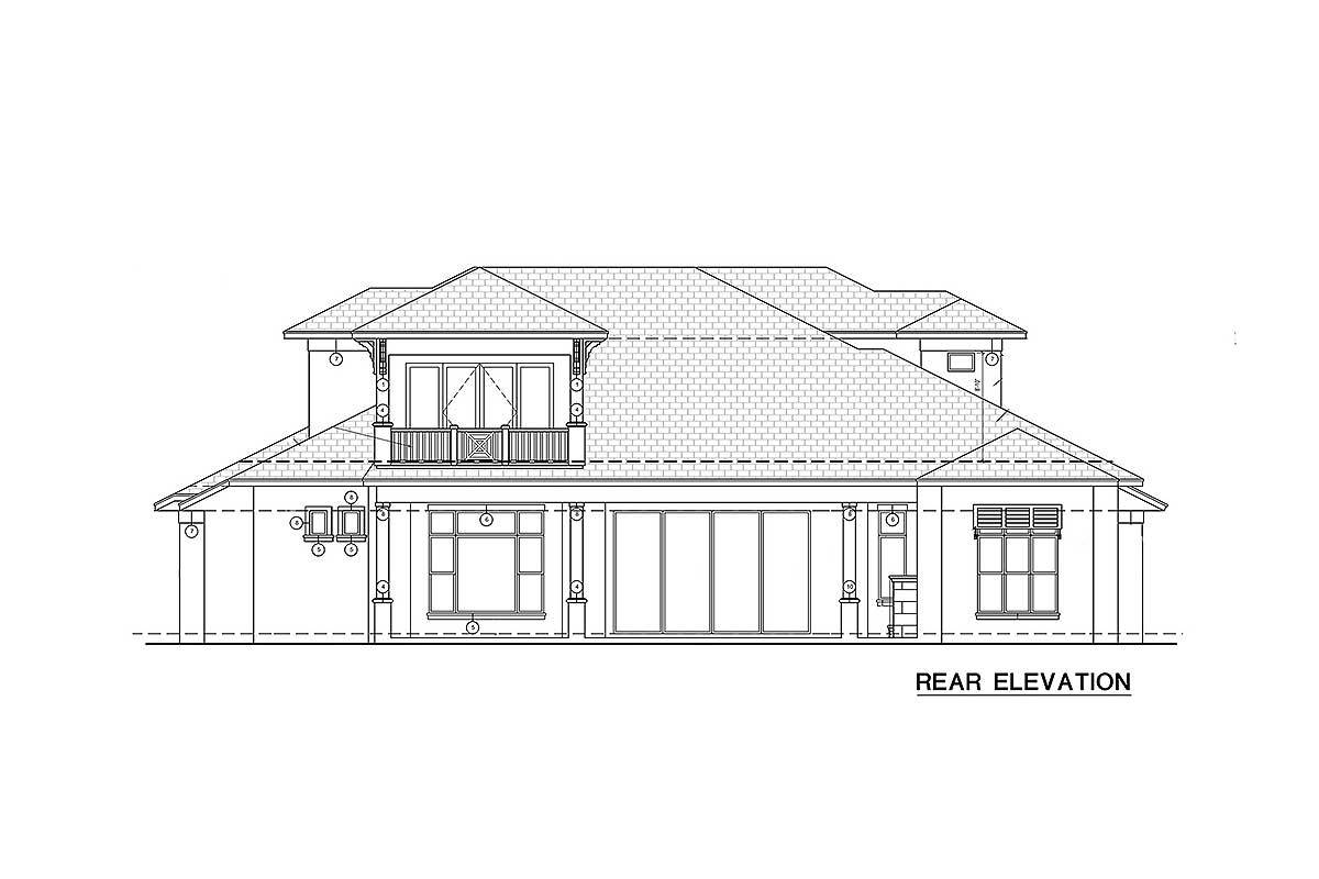 Rear elevation sketch of the two-story Florida home.