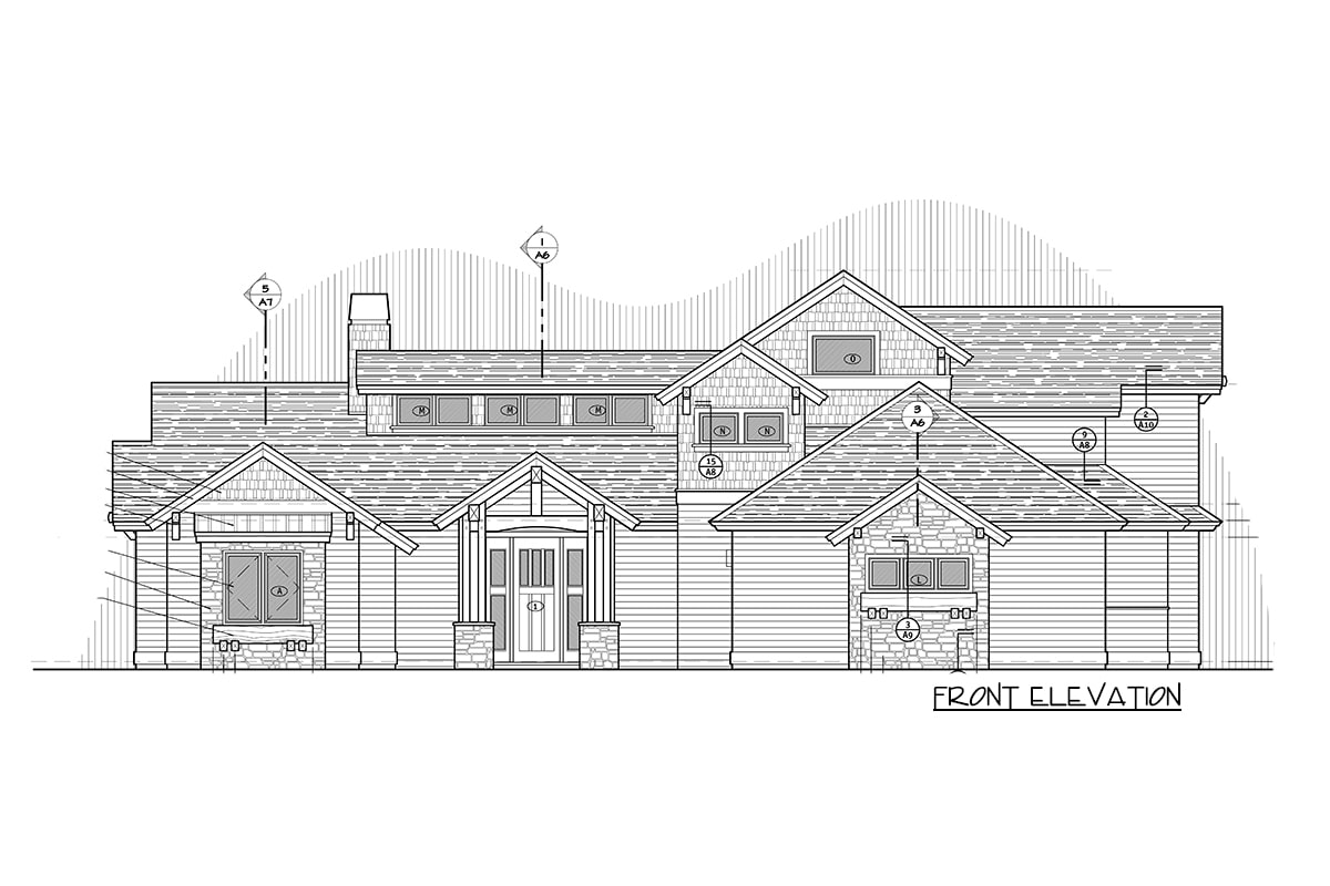 Front elevation sketch of the 4-bedroom two-story mountain craftsman home.