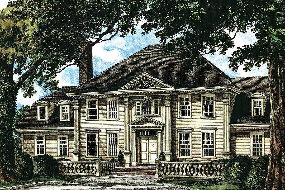 Perspective sketch of the 4-bedroom two-story traditional Colonial home.
