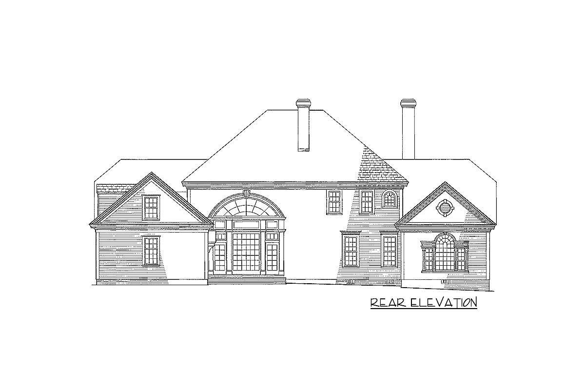 Rear elevation sketch of the 4-bedroom two-story traditional Colonial home.