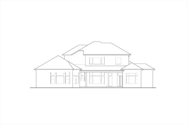 Rear elevation sketch of the two-story Colonial home.