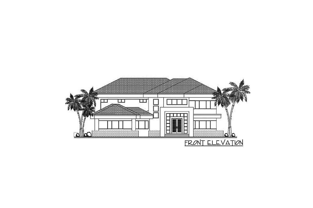 Front elevation sketch of the 5-bedroom two-story contemporary home.