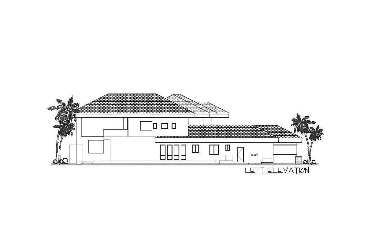 Left elevation sketch of the 5-bedroom two-story contemporary home.