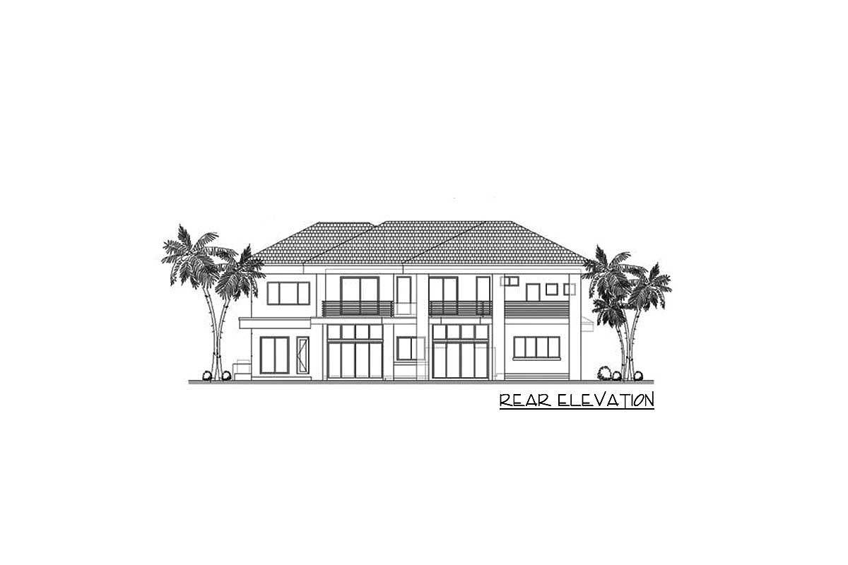 Rear elevation sketch of the 5-bedroom two-story contemporary home.