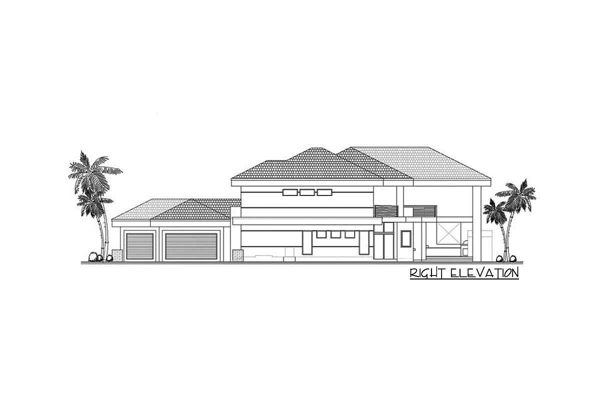 Right elevation sketch of the 5-bedroom two-story contemporary home.