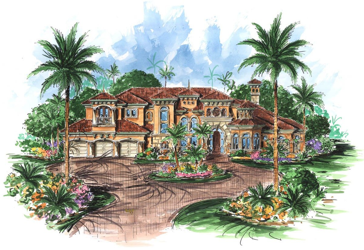 Perspective sketch of the 5-bedroom two-story Mediterranean home.
