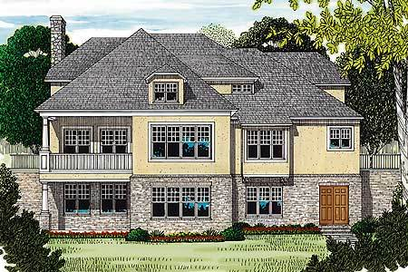 Rear perspective sketch of the two-story Tudor home.