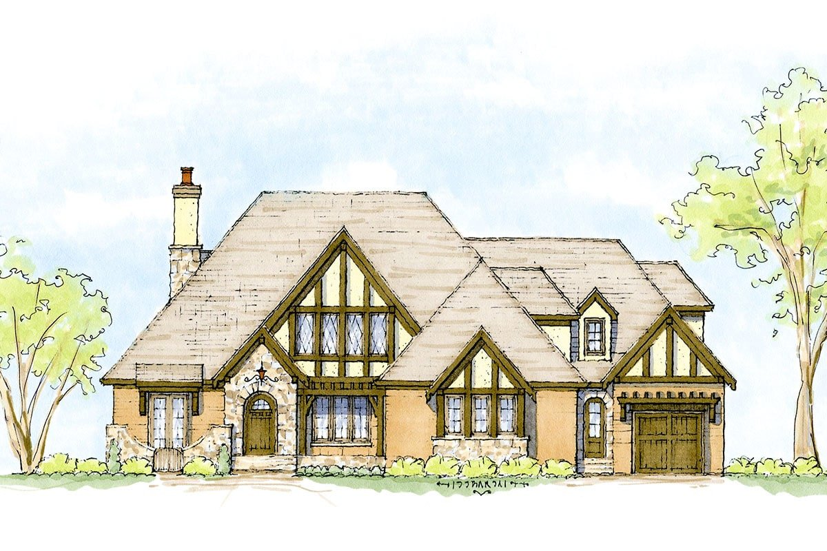 Perspective sketch of the two-story Tudor-style home.