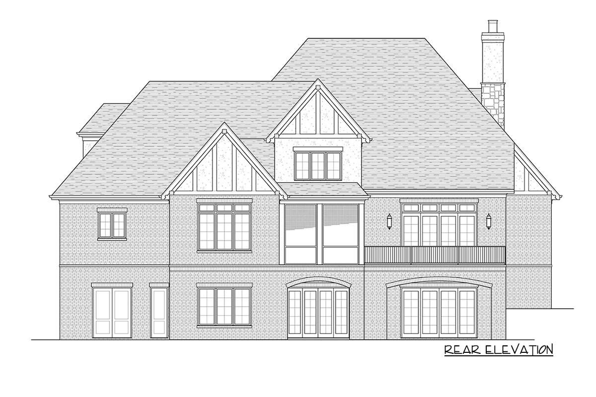 Rear elevation sketch of the two-story Tudor-style home.