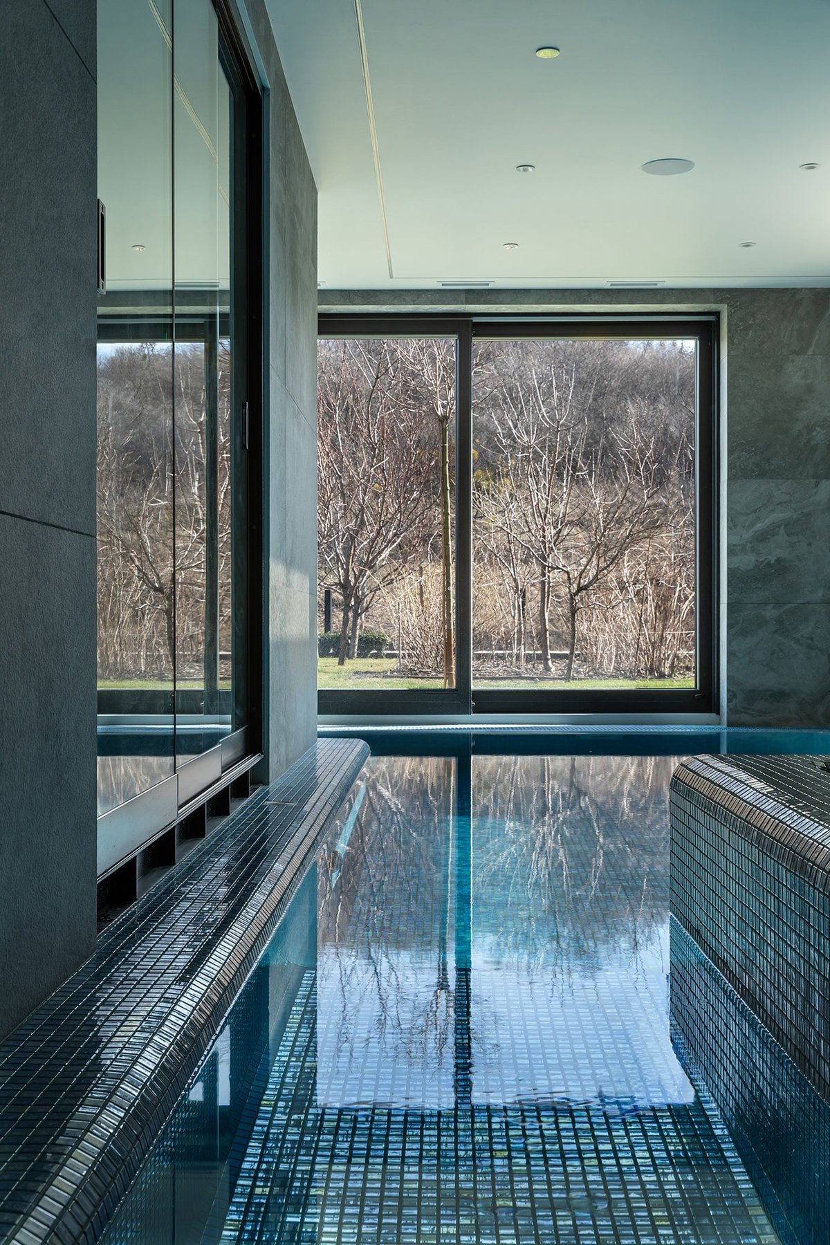 This indoor swimming pool is separated from the living room with just a glass wall. This area has other glass walls that show a lovely view of the landscape outside.