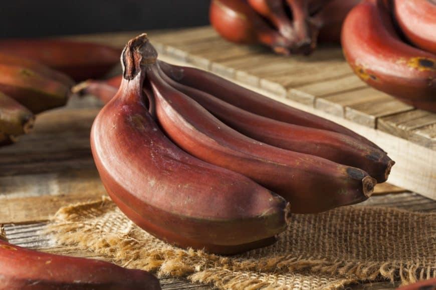 Red Bananas on a rustic setup.