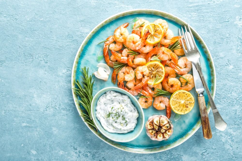 A lovely plate of cooked shrimp.