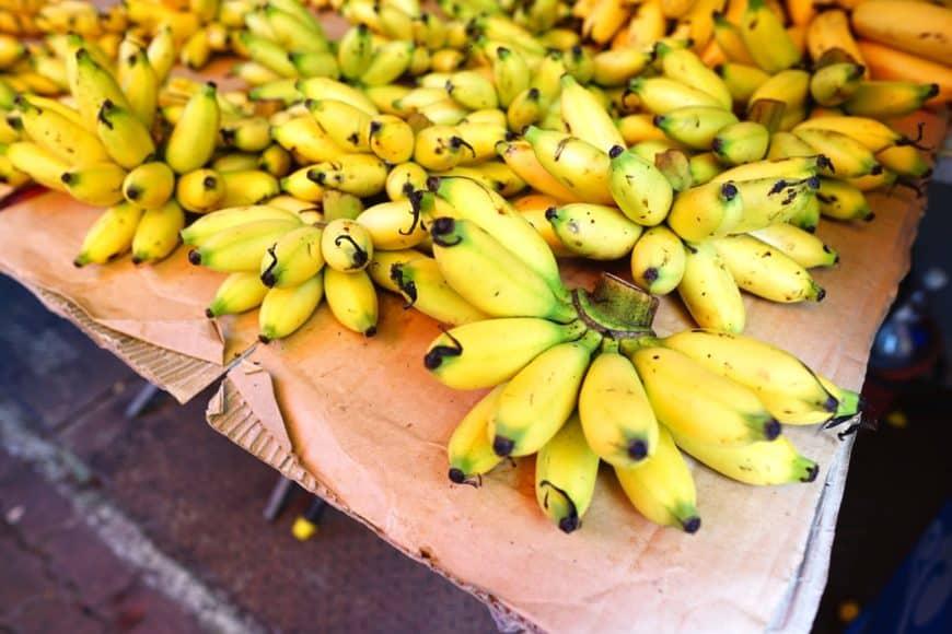 Bunches of ripe manzano bananas.