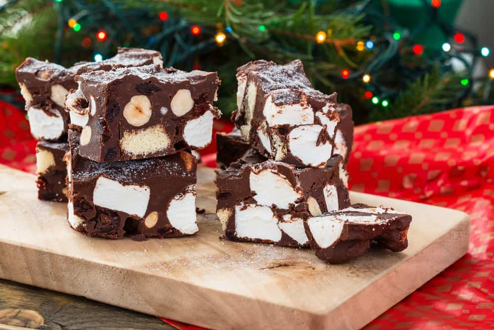 Marshmallow crunch brownie bars stacked against each other