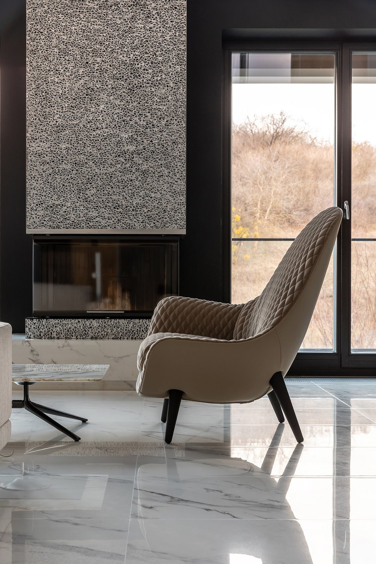 This is a closer look at this charming brown armchair next to the modern fireplace flanked with large glass walls.