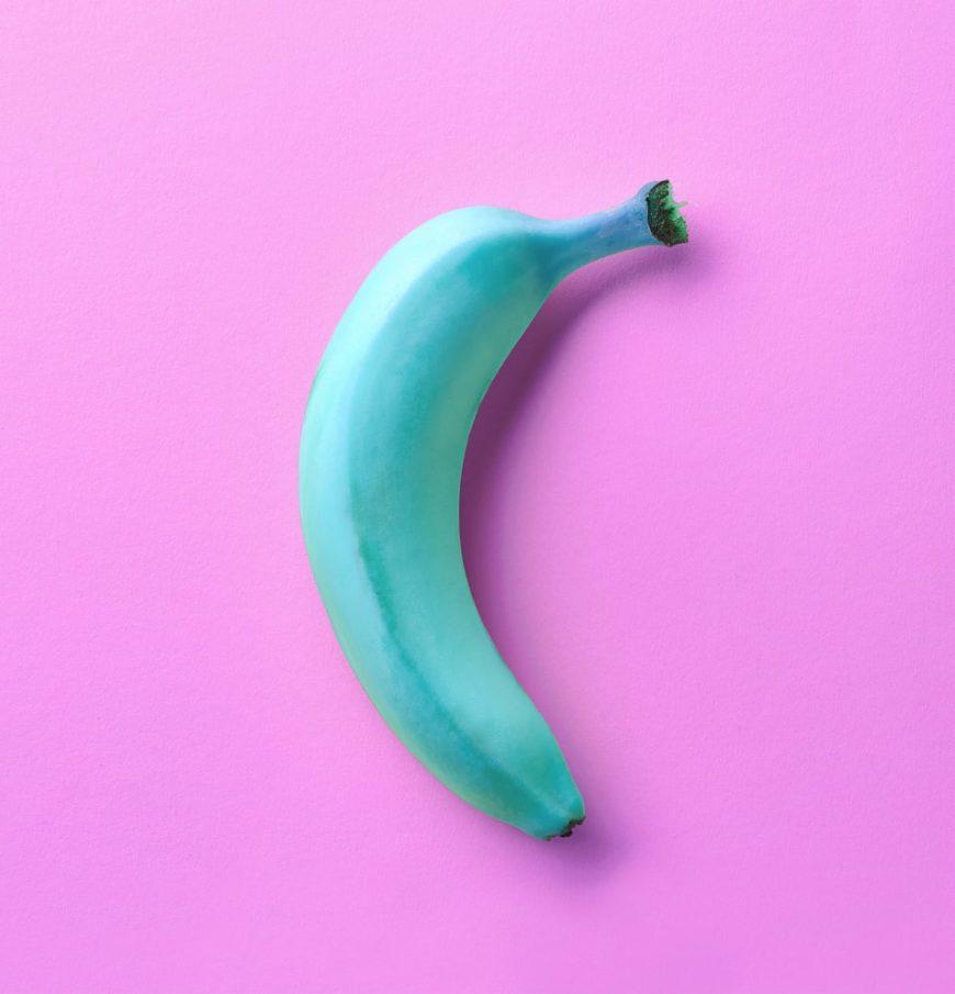 A close look at a blue java banana.