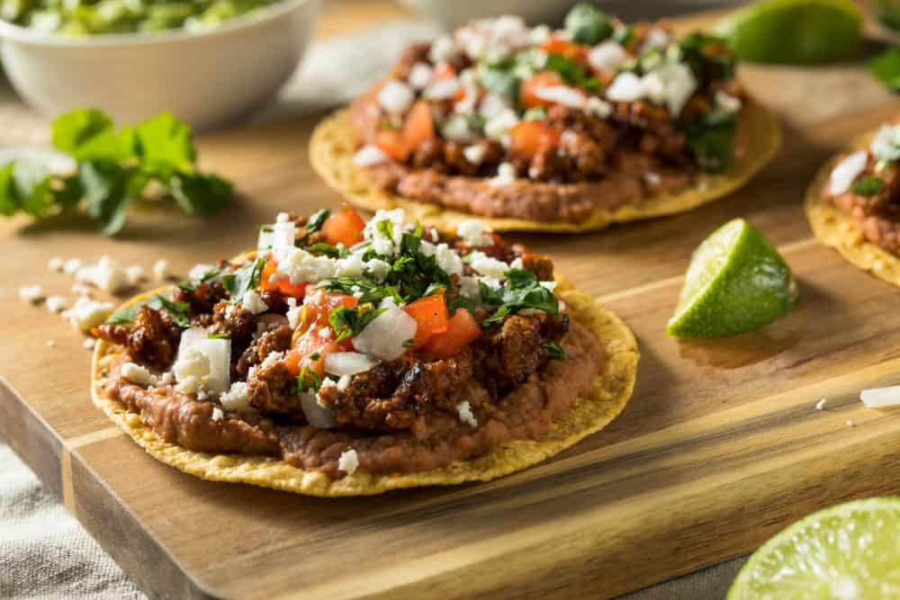Beef and cheese tostadas