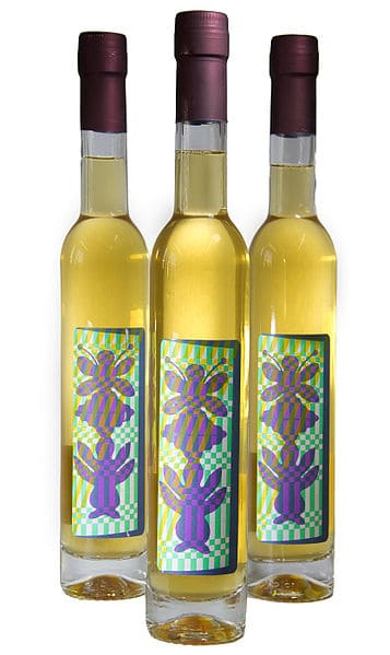 Bottles of Off dry botanical mead with juniper, lavender, and marjoram infusions Attribution: Wikimedia Commons