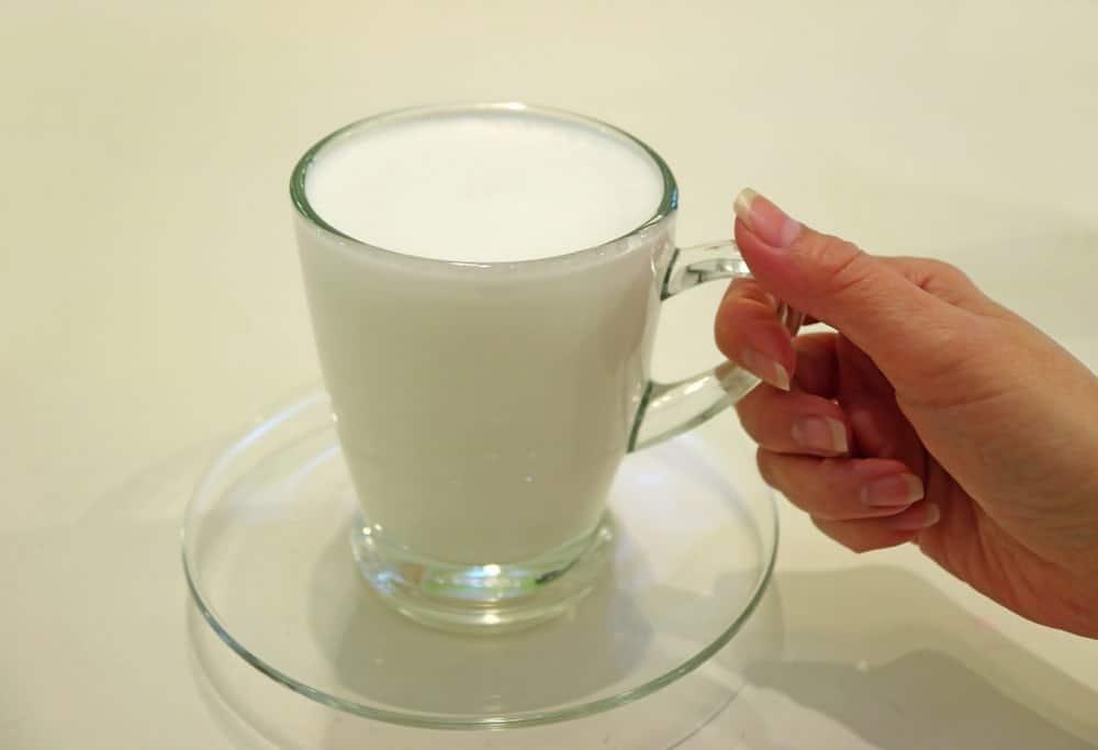 Warm Buffalo Milk in a Glass Cup
