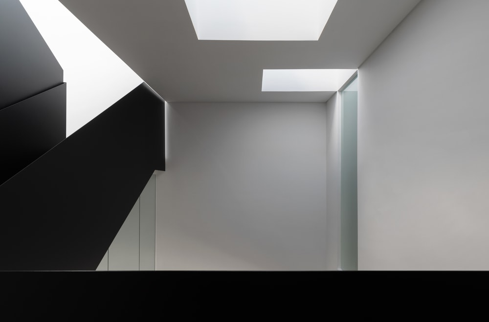 This is a look at the staircase ceiling showcasing the two skylights.