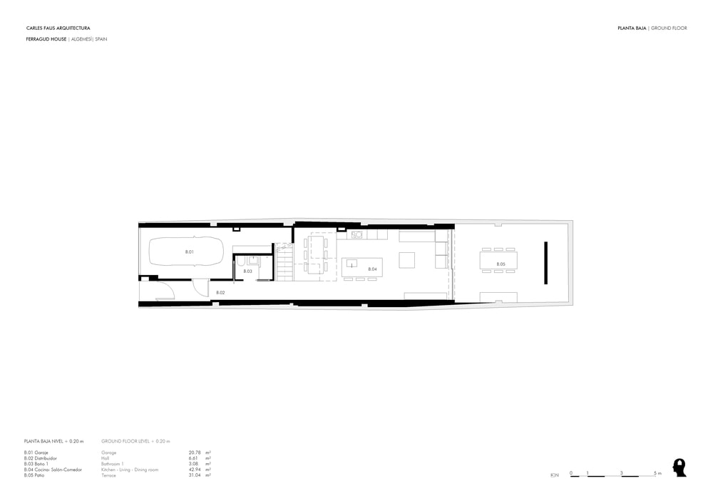 This is the illustration of the ground level floor plan showing the different section of the level.