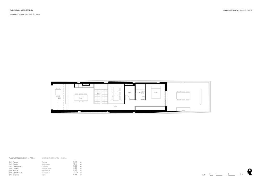 This is the illustration of the second level floor plan showing the different section of the level.