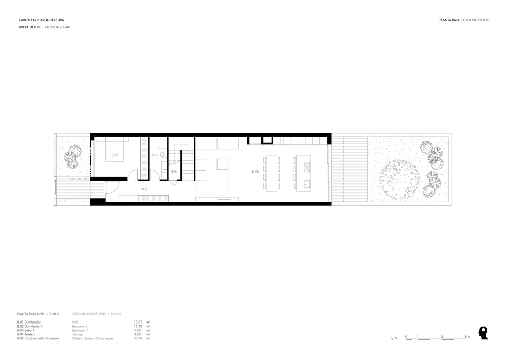 This is the floor plan for the ground level showing the different sections of the house.