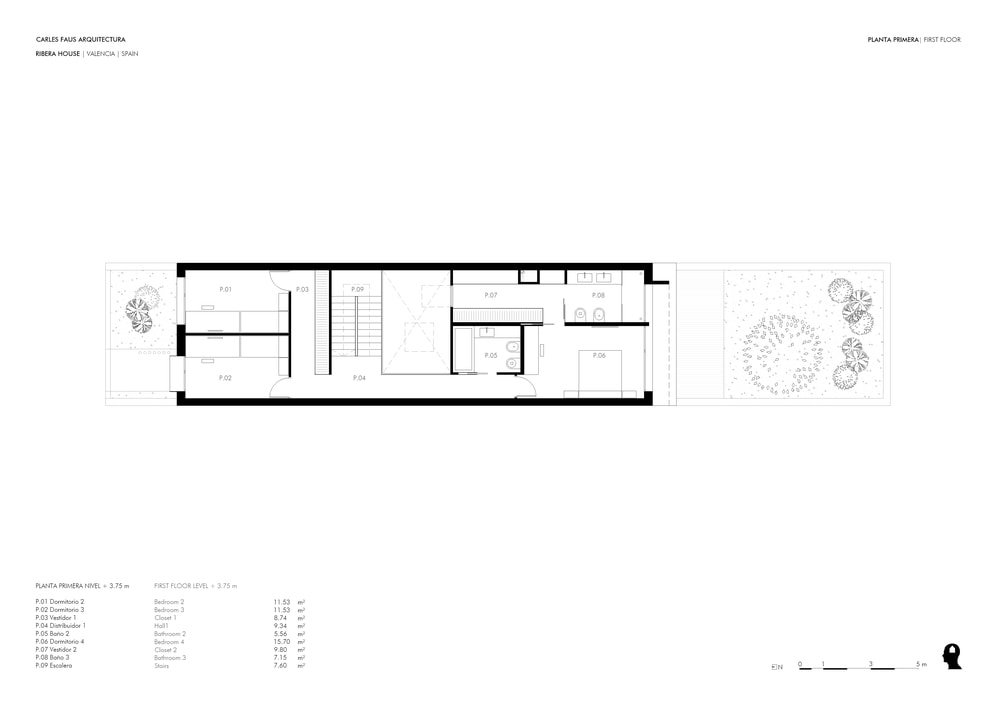 This is the floor plan for the first floor with the bedrooms and the bathrooms in place.