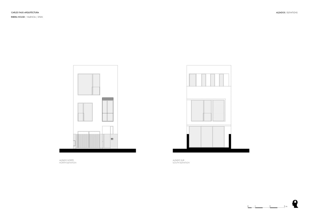 This is an illustrative representation of the north and south elevation indicating the positioning of windows and doors.