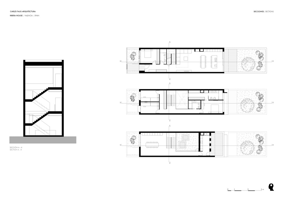 This is an illustrative representation of the staircase and the three floor plans indicating the four directions.