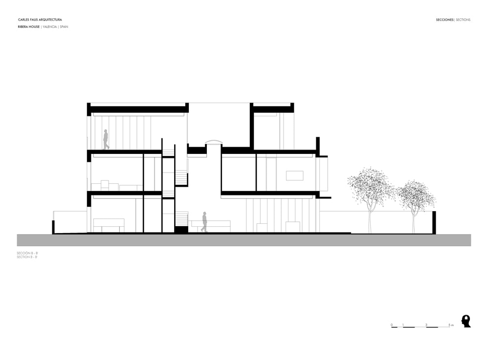 This is an illustrative representation of the side elevation showing the different sections of the house on the three floors.