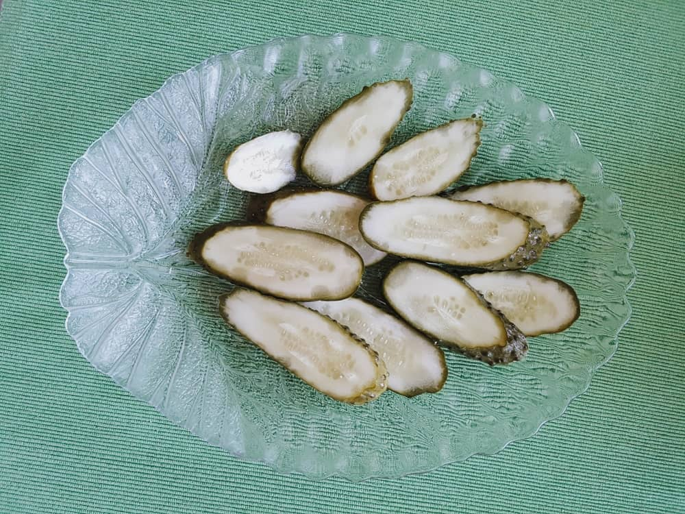 Candied Pickles in a Bowl