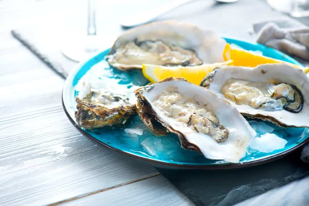 A plate of fresh oysters.