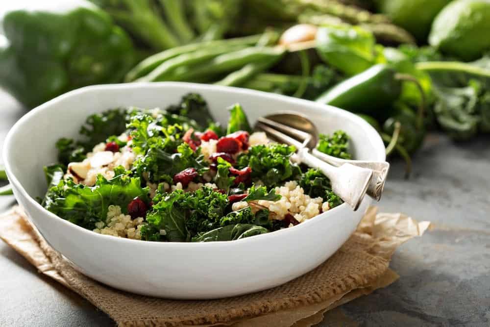 A bowl of kale salad.